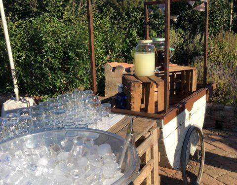 carrito con hielo, limonada y te frio mallol catering